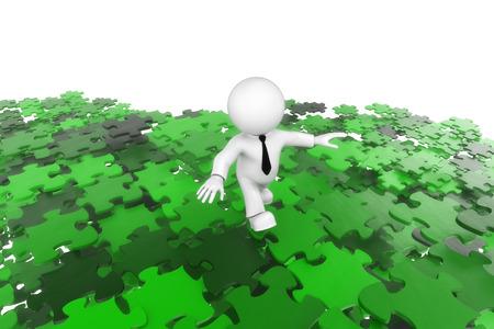 deterministic: Puzzle man green