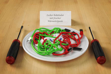 clutter: newer cable clutter Stock Photo