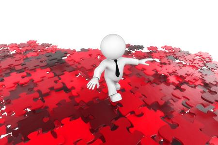 balancing act: Puzzle man red Stock Photo