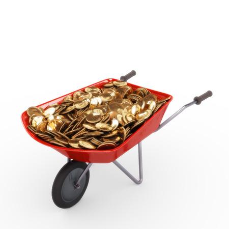 hoard: Wheelbarrow full of coins