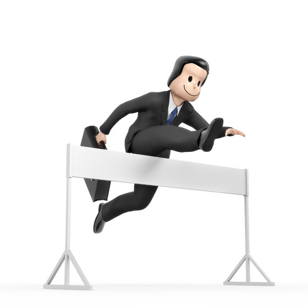 run faster: Businessman jumping over hurdle - field blank