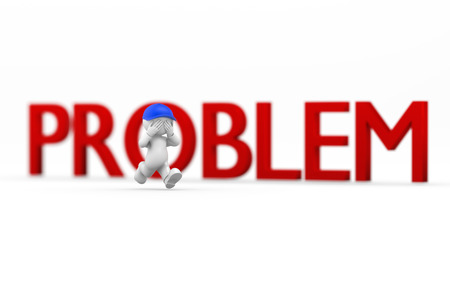 stubbornness: run away from problem Stock Photo