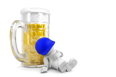 exaggerate: sleep on beer glass