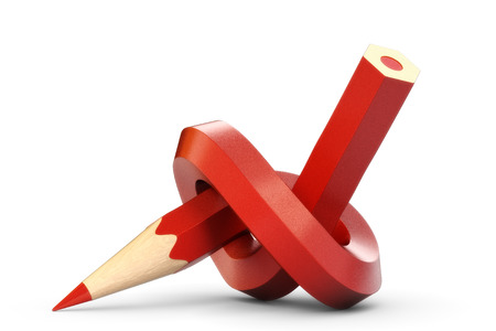 underscore: knotted red pencil Stock Photo