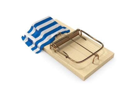 debt trap: Mousetrap with flag