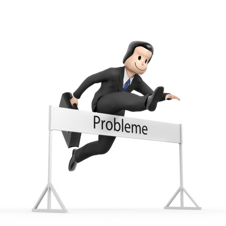 hurdle: Businessman jumping over hurdle - field problems
