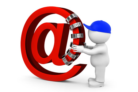 encrypt: email encrypt with combination lock Stock Photo