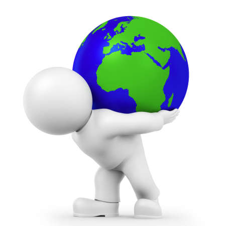 globe  the terrestrial ball: Figure wears globe Stock Photo