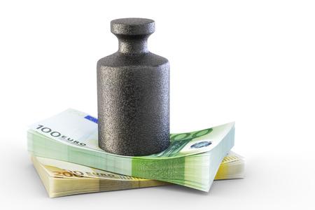 creditworthiness: Weight on bills Stock Photo