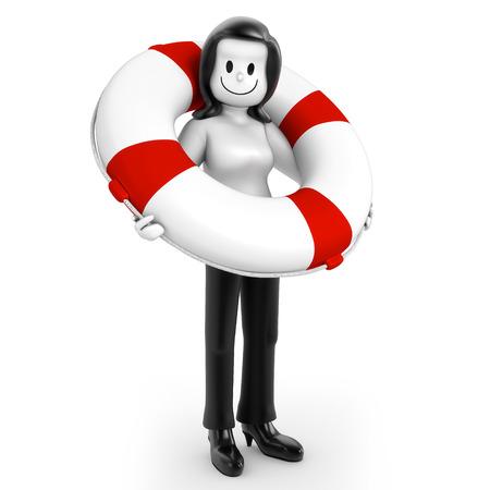 overburdened: Woman with lifebuoy Stock Photo