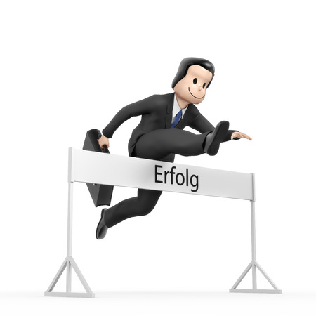 run faster: Businessman jumping over hurdle - field success Stock Photo