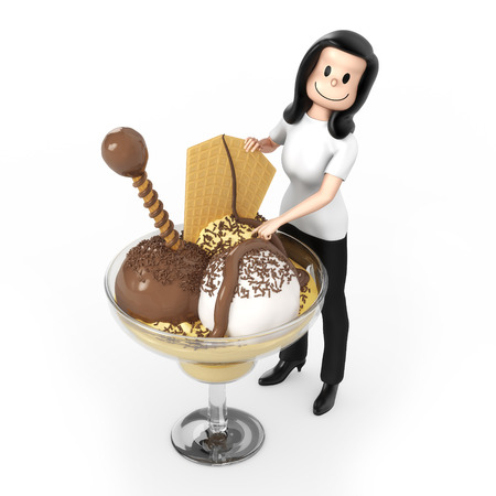 coppa di gelato: Donna sulla sundae