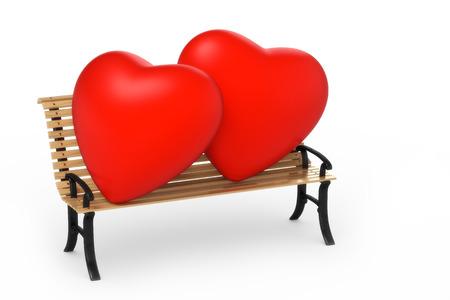 garden bench: two hearts on a garden bench Stock Photo