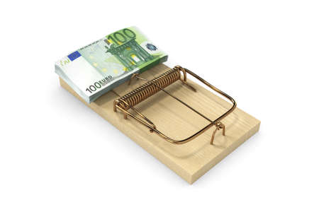 geld: euro in the trap Stock Photo