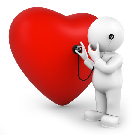 examine: examine heart Stock Photo