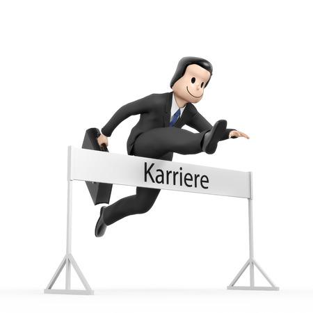 run faster: Businessman jumping over hurdle - field career