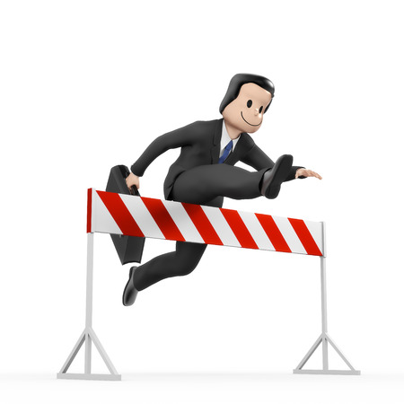 run faster: Businessman jumping over hurdle - barrier Stock Photo