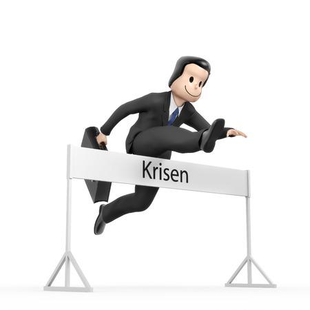 run faster: Businessman jumping over hurdle - Field crises