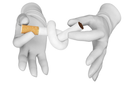 knotting: Hands knotting cigarette