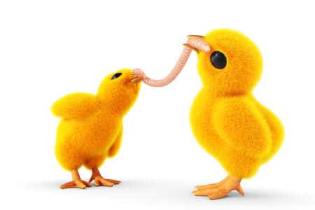 beak: chick with worm in its beak