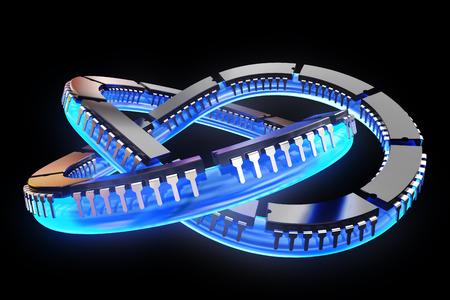 ic: 3D illustration - Chips on knots Black Background