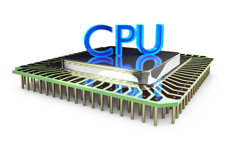 freisteller: 3D illustration - CPU with text