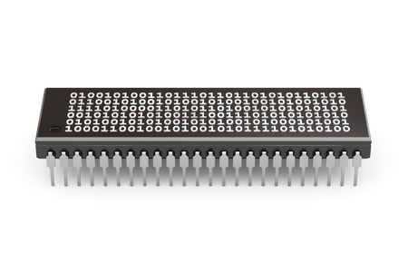 gpu: 3D illustration - RAM with binary code