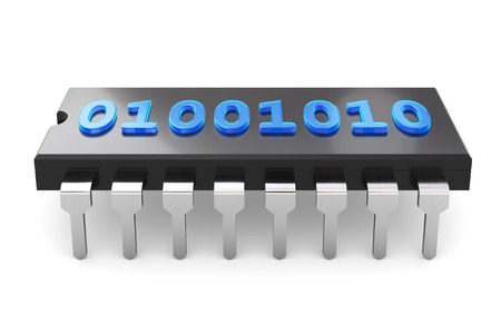 circuitry: 3D illustration - binary code on chip