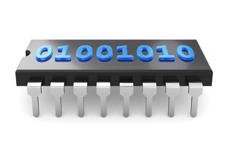 codigo binario: Ilustraci�n 3D - c�digo binario en el chip Foto de archivo