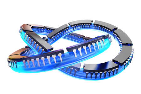 circuitry: 3D illustration - Chips on knots white Background Stock Photo