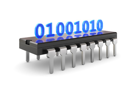 ic: 3D illustration - binary code standing on Chip