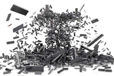 gpu: 3D illustration - chip explosion