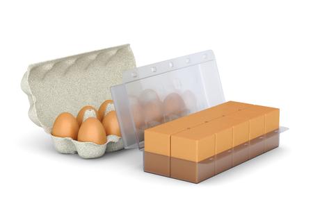 manipulated: 3D illustration - egg packaging