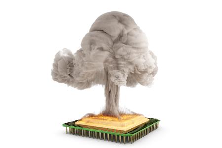 pc tune: 3D illustration - hot CPU