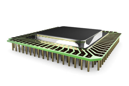 ic: 3D illustration - old CPU Stock Photo