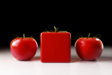 genetically modified crops: 3D illustration - genetically modified tomato