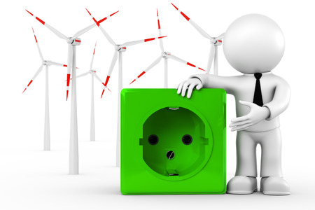 network connection plug: 3D illustration - wind power