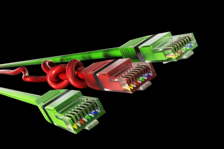 3D illustration - three network cables
