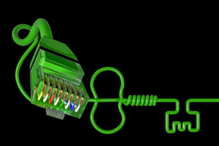 spit: 3D illustration - Network key