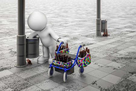Illustration 3D d'une figure recueillant des bouteilles de la poubelle