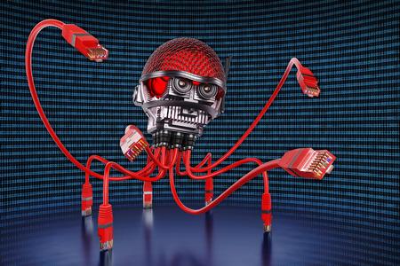 Illustration 3D d'un chasseur de données qui ressemble à un pieuvre avec des tentacules en câbles téléphoniques
