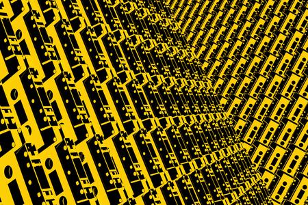 Illustration 3D - cassettes black yellow art