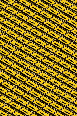 3D illustration - Cassettes black yellow