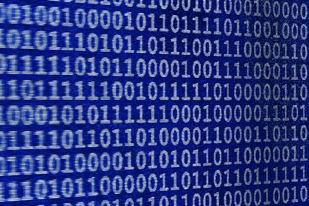 3D illustration - LED wall - binary code blue