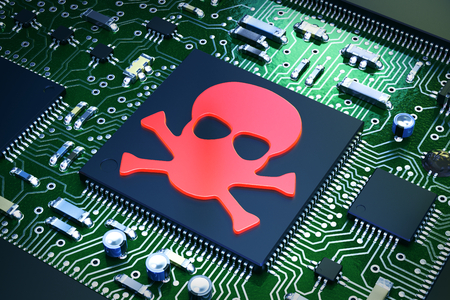 3D illustration - Computer chip with skull icon