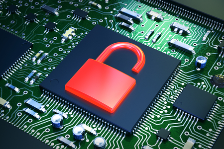 3D illustration - Computer chip with red lock