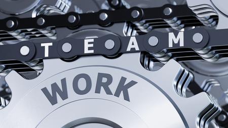 3D illustration - Steel teamwork
