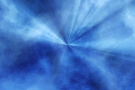 3D illustration - blue fog with central rays Stockfoto