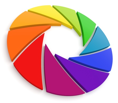 Diafragma Color Wheel 3D Stockfoto