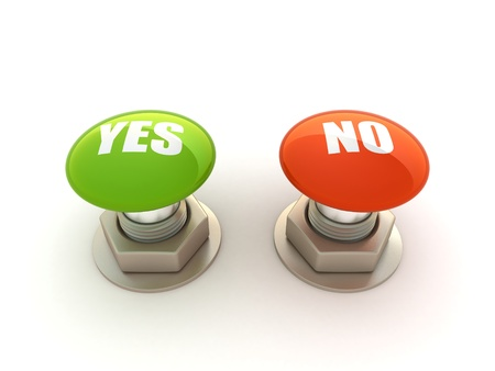 yes or no: Buttons with Yes and No Stock Photo